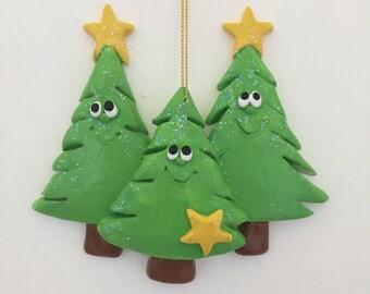 Personalized original Chrismas tree family of 3 ornament , first Christmas, Christmas tree, couple ornament