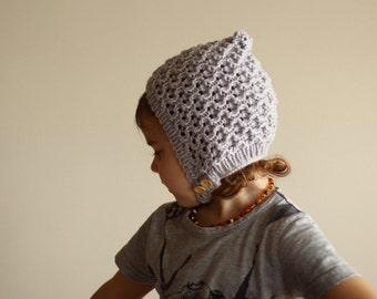 knitted baby bonnet, pixie bonnet, baby pixie hat, autumn bonnet, spring bonnet, merino bonnet, grey bonnet, newborn bonnet, toddler bonnet