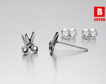 925 Sterling Silver Oxidized Earrings, Scissors Earrings, Stud Earrings (Code : EG28)