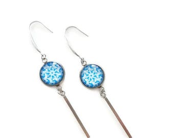 Dangle blue earrings, stainless steel, 10mm cabochon