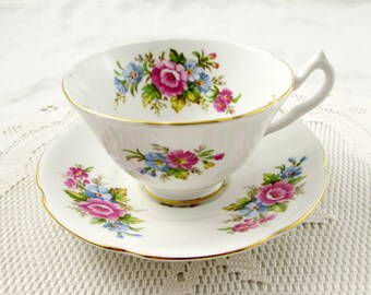 Vintage Tea Cup and Saucer with Pink and Blue Flowers, Made by Collingwoods, English Bone China