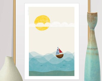 Mid Century Modern Art, Art Print, Travel poster, Scandinavian Modern, Nursery Decor, Ship Print, Sea Print, Baby Room Decor, Modern Art