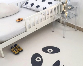 Sweet Panda White Kids Rug / Minimalist Kids Room / Decorative Floor Rug | Bedroom Mat | PVC Rug | Kids Decor / Modern Nursery | Monochrome