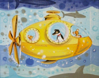 "Hawk and the Yellow Sub PRINT 8x8"""