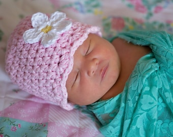 9 Sizes Light Pink Girl Hat Baby Hat Baby Girl Hat Toddler Hat Toddler Girl Hat Womens Hat Crochet Flower Hat Flapper Beanie 30 Flower Color