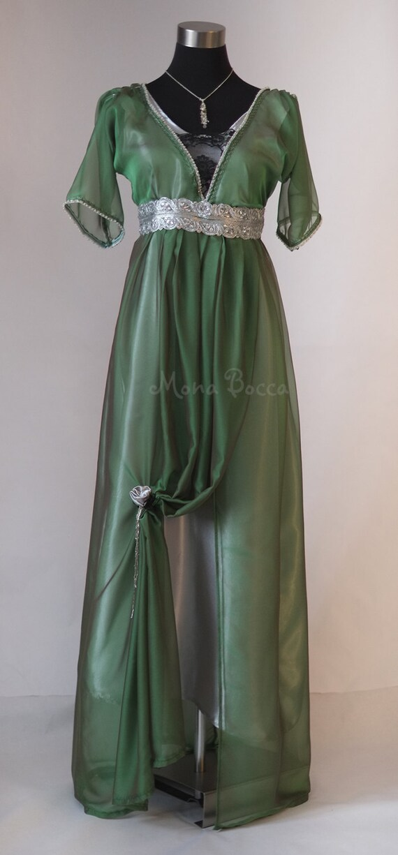 Edwardian smaragdgrünen Abendkleid handgefertigt in England