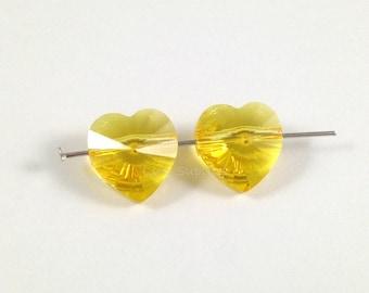 5742 LIGHT TOPAZ 10mm Swarovski Crystal Heart Beads 6 pieces Honey Yellow
