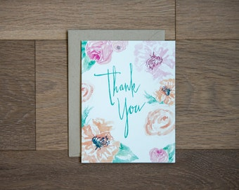 Thank you card - floral illustration - all occasion card - greeting card - flowers - hand lettered