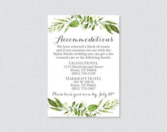 Printable OR Printed Wedding Accommodation Cards - Green Leaf Accommodation Inserts - Rustic Green Wreath Hotel Details Insert Cards 0007