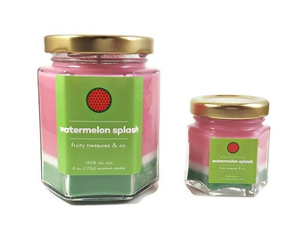 Watermelon Splash, Candle, Watermelon, 6oz, 1.5oz, Soy candle, Soy wax, Handmade candle, Hand poured, Summer, Fruity, Gift for her, Decor