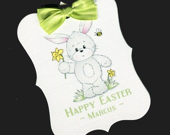 Easter Tags - Personalized Tags - Favor Tags - Cookie Tags - Bag Tags - Easter Candy Tags - Easter Basket - Bunny With Daffodils - 20