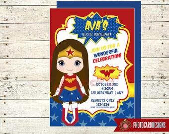 Wonder Woman Birthday Invitation | Wonder Woman | SUPERHERO Birthday Invitation | Wonder Women | invite | Party | Superhero | Halloween