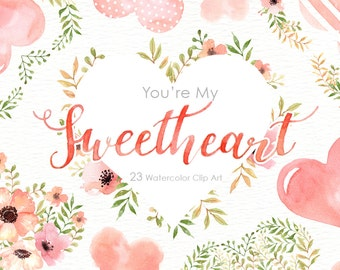My Sweetheart Watercolor flowers Clipart, peonies, wedding,heart, arrows, antlers, bouquets, valentines, floral, spring, card, diy clip art