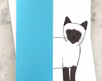 Mr Siamese Cat greeting card, pale blue and grey illustrated design with blank interior, birthday card,