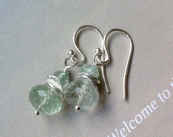 Aquamarine Earrings with Sterling Silver disks, Birthstone Earrings, blue gemstone, March birthstone, natural gemstone, aquamarine earrings
