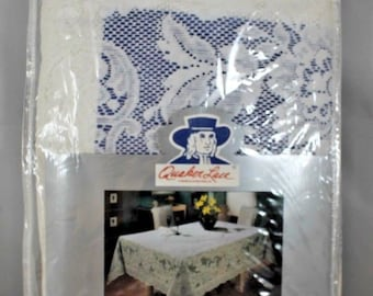 "Vintage Quaker Lace White Tablecloth Tiffany 70"" X 90"" Oblong In Original Package"