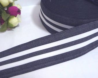 Grayish Black with White Stripe Waistband Elastic Band 1-1/2 inch / 3.8 cm width 0.9mm thickness EB78
