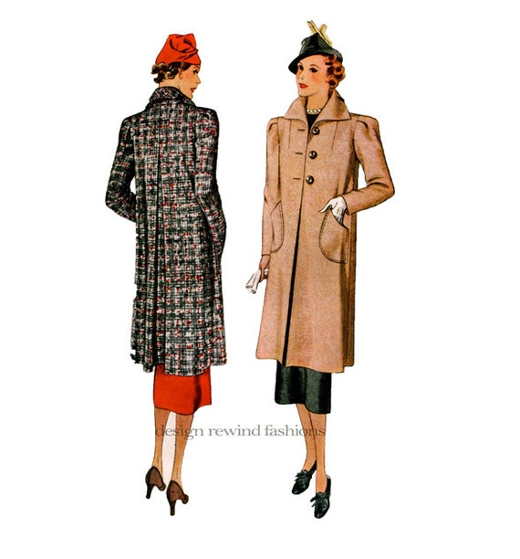 McCall 9197 COAT PATTERNS 30s Swagger Coats Car Coat Day Evening ...