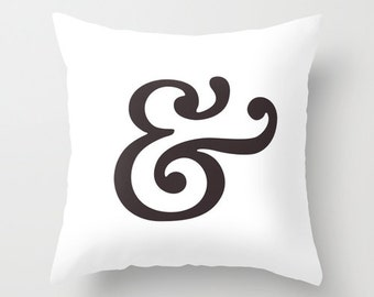 Ampersand pillow cover. Minimal typography pillow ampersand cushion typography cushion black and white pillow black and white cushion