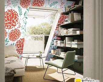 Self-adhesive wallpaper-Scandinavian-ferns & flowers-yellow BUS