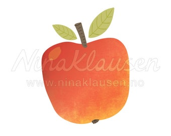 Red Apple Clipart Illustration for Small Commercial Use - 0073