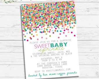 Second Baby, Sprinkle Shower Invitation -- Three Wording Versions