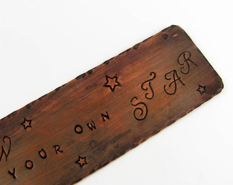 Follow Your Star - Unique Copper Bookmark With Inspirational Quote - Reading Gift