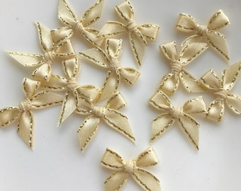 Cream, Gold Trim Gift Small Bows Shower Gift Bows, Cookies Bows, Craft, Scrapbooking, Card Making Bows (SG-21)