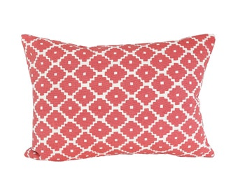 READY TO SHIP - 11x15.5  Ziggurat Ruby designer pillow cover (sized for 12x16 insert) - Schumacher