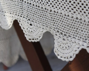 Vintage Crocheted Doily Tablecloth Cream Off White GORGEOUS Shabby Cottage Chic Decor Wedding Handmade Scalloped Edges