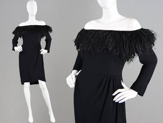 Ostrich Dress Black Little Vintage 80s Dress Feather Designer Crepe VALENTINO Dress Party Italian Evening Dress Black Dress Sexy 1980s Dress wq4OxZYpOt