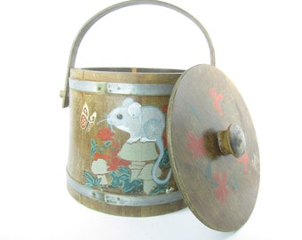 Vintage Firkin Bucket, Wood Bucket, Collectible, Wood decor, mouse,hand painted, rustic,farmhouse decor,