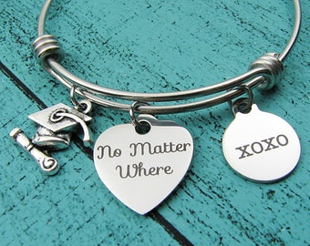 graduation gift bracelet, long distance friendship, no matter where, college high school graduation gift for her, moving away gift, xoxo
