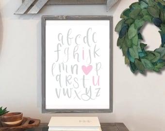 Baby Girl Boy Nursery Print I Love You Alphabet - Digital Print