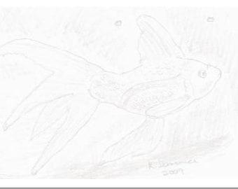 "Stationary Pad:  Fantail Goldfish - 25-Sheet 5"" x 7"" Black and White"