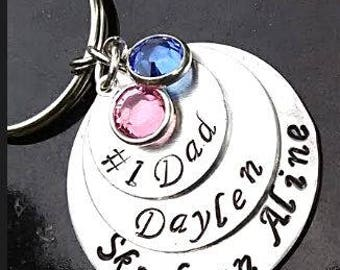 Number One Dad Keychain, Fathers Day Keychain, Father Keychain, Grandpa Keychain, Gifts for Him, Daddy Keychain, Dad Gift, Father GIft, Dad