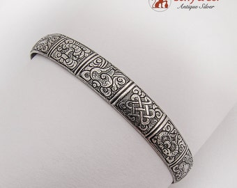 South East Asian Design Cuff Bracelet 900 Silver 1950