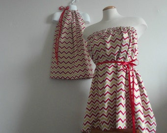 Mommy and Me Clothing.Mother & Daughter.Christmas.Green And Red Chevron. Tunic and Dress. Chevron