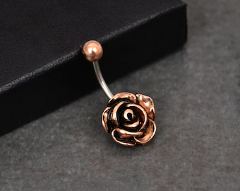 Belly Button Ring Rose Gold Rose Flower 14 GAUGE Fast Shipping Surgical Steel Short 6mm Long Bar Navel Jewelry Little Flower Body Jewelry