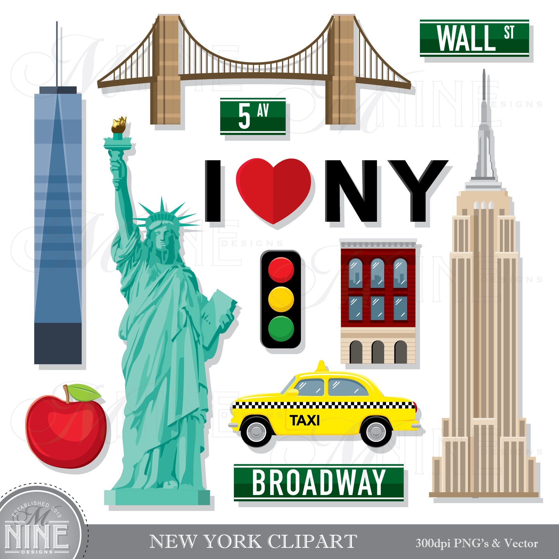 new york clip art new york theme clipart download new york rh etsy com new york city clipart new york clipart black and white