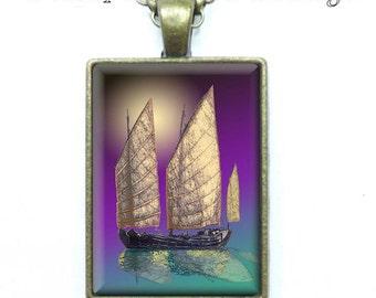 Hunan Honey - Ships at Sea - Fine Art Digital Painting - Key Ring or Pendant - Your Choice of Finish