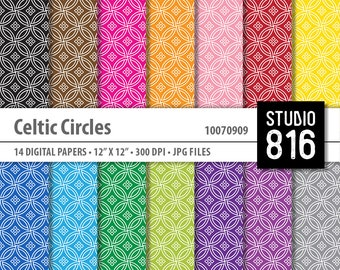 Celtic Circles Pattern - Digital Paper for Scrapbooking, Cardmaking, Papercrafts #10070909