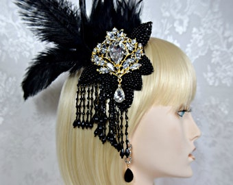 Gatsby Headpiece +Earrings Art Deco 1920s roaring 20s feather crystal headpiece fascinator hair clip, gatsby wedding accessories dress party