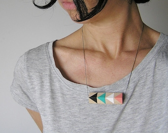 Boho Necklace, Valentines day jewelry, Handpainted by Olula, Wooden necklace, Geometric Necklace, wooden jewelry, Boho jewelry, necklace