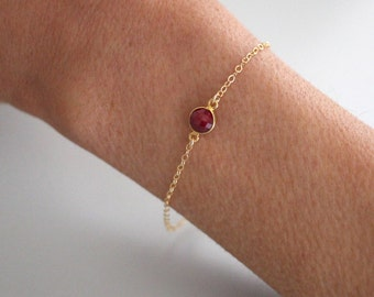 Dainty Ruby bracelet - gold filled - single gemstone - gold chain bracelet