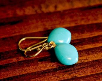 Turquoise Earrings Marquise Earrings Blue Gemstone Drops Dangle Earrings Gift For Her For Mom Small Earrings Minimal Jewelry Gold Earrings