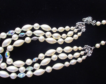 Laguna Triple Strand White Pearl Crystal Vintage Necklace Prom Wedding or Bridal Party