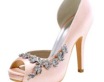 Blush Satin Shoes, Pink Bridal Shoes, Satin Bridal Shoes, Wedding Shoes, Blush Peep Toe Bridal Shoes, Blush Pink Shoes, Bridal Shoes