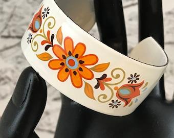 Vintage Enamel White Floral Cuff Bracelet