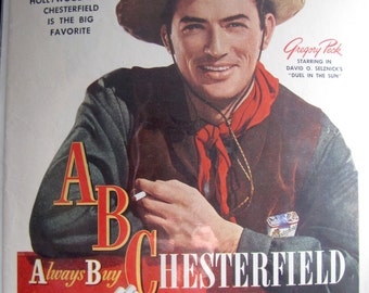 1947 Gregory Peck Western Duel In The Sun Hollywood Chesterfield Full Page Color  Ad